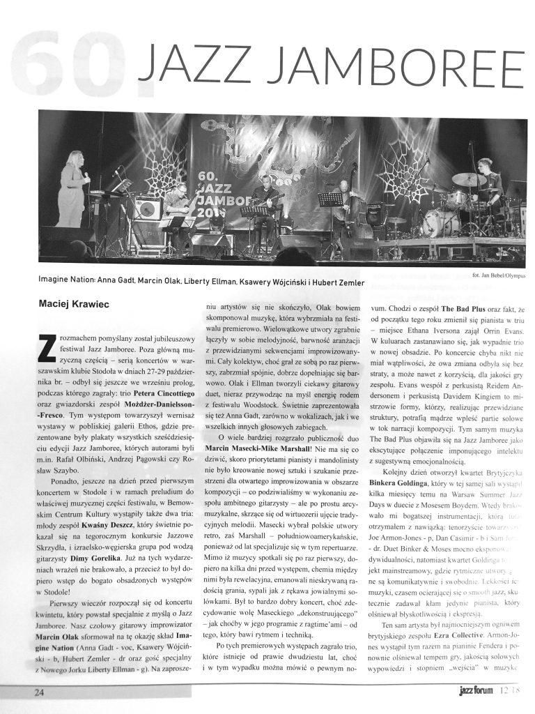 Marcin Olak Imagine Nation w Jazz Forum
